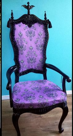 """maudelynn: """"Queenie Black took this 5$ goodwill chair and made it into a Haunted Mansion Masterpiece!!!! """" Every single crappy forgotten mass-produced nick-nack in antique malls across the country..."""