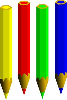 Set of four colored pencils. Pencil Png, Preschool Learning Activities, Borders For Paper, Color Pencil Art, Learning Colors, Art Party, Coloring For Kids, My Favorite Color, Bold Colors
