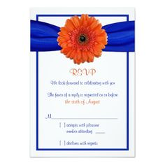 "Orange Gerbera Daisy Blue Wedding Reply Card 3.5"" X 5"" Invitation Card"