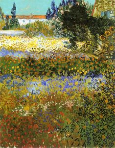 VINCENT VAN GOGH - Flowering Garden, Arles colour and vivacity, excelling Monet in my mind in this work.Arles brought out such a life of colour in his work raising him out of the artistic darkness he had been in for most of his life. Art Van, Van Gogh Art, Vincent Van Gogh, Henri Matisse, Van Gogh Pinturas, Van Gogh Paintings, Paintings Online, Flower Paintings, Fine Art