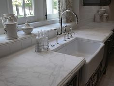 Cultured Marble Countertop. Cultured Marble Countertop Ideas. Kitchen with Cultured Marble Countertop and Apron Sink. #CulturedMarbleCountertop #CulturedMarble
