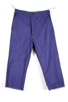 1950's french indigo linen work pants, deadstock, workwear