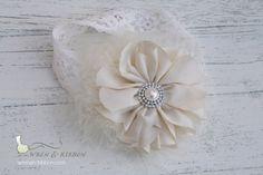 Beige Ivory Cream Feather Flower Lace Headband  by wrenandribbon, $15.00
