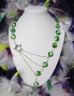 Green Beaded Adrienne Adelle Signature Necklace with White and Yellow Touches. Wedding/ Bridesmaid/ Prom/ Anniversary Gift/ Birthday Gift