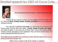 Inspirational words from CEO of Coca Cola