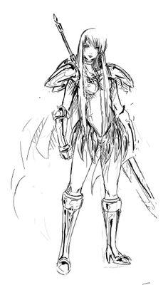 Galatea by Agacross on DeviantArt Old Anime, Manga Anime, Anime Art, Claymore Anime, Clare Claymore, Inktober, Popular Anime, Berserk, Art Reference