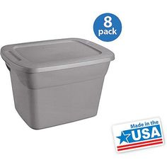 Sterilite 18 Gallon Tote Box- Steel, Set of 8 24Lx18.4W 15.75H