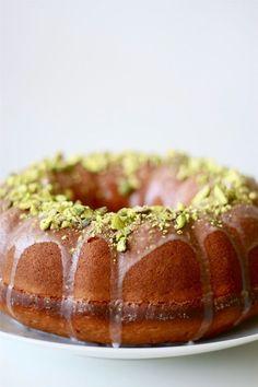 Lemon, Yogurt and Pistachio Bundt Cake. A lighter take on traditional pound cake.