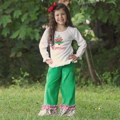 Lolly Wolly Doodle Christmas Tree Corduroy Pants Set 7/11