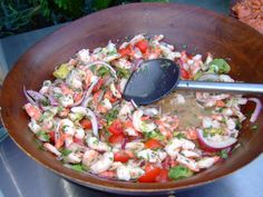 Really craving some shrimp ceviche with onion and avocado