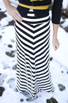 Maxi + cardigan and belt  I have two new maxi skirts - ones gray and black and ones navy and bright blue. I'm dying to wear them.  Can I pull this off in winter????