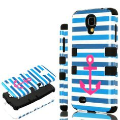"""myLife (TM) Black - Blue Stripes and Pink Anchor Design (3 Piece Hybrid) Hard and Soft Case for the Samsung Galaxy S4 """"Fits Models: I9500, I9505, SPH-L720, Galaxy S IV, SGH-I337, SCH-I545, SGH-M919, SCH-R970 and Galaxy S4 LTE-A Touch Phone"""" (Fitted Front and Back Solid Cover Case + Internal Silicone Gel Rubberized Tough Armor Skin + Lifetime Warranty + Sealed Inside myLife Authorized Packaging) """"ADDITIONAL DETAILS: This three layer Galaxy S4 armor skin gel fit together case i"""