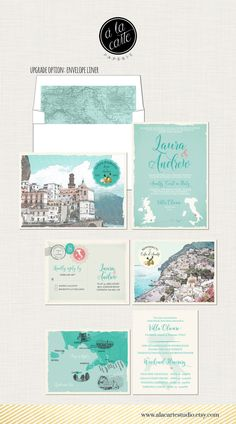 Our wedding invitation is the customized version of this - Destination wedding invitation Amalfi Coast by alacartepaperie