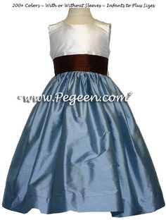 Flower Girl Dresses French Blue- Semisweet Brown Style 383 | Pegeen