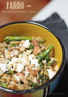 Farro with Roasted Broccoli Rabe & Harissa **ditch the goat cheese or sub vegan cheese