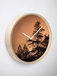 """Tree silhouette"" Clock by juneaasheim Tree Silhouette, Quartz Clock Mechanism, Modern Prints, Art Tips, Hand Coloring, Sell Your Art, Advice, Interior, Inspiration"
