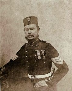 3637 Sergeant John Gamble, 23rd Regiment (Royal Welch Fusiliers). wears the Crimean War Medal with clasps for Alma, Inkerman and Sevastopol and the Turkish Crimean Medal. The image was probably taken at the end of his military career in November 1856, when he was discharged at Chatham.   [At Inkerman]' he received a sabre cut over the eye, but continued fighting until he was severely wounded by a bullet which almost proved fatal and which penetrated the upper lobe of the left lung, making…