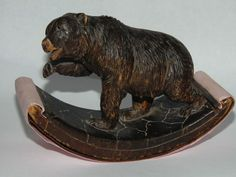 GENUINE ORIGINAL ANTIQUE CARVED BLACK FOREST BEAR DESK BLOTTER with GLASS EYES