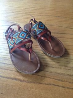 db02e4d5e83e Womens-Nwot-Navajo-Print-Brown-Leather-Mossimo-Sandals-