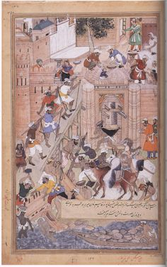 Mughal Empire by Tulsi the Younger / 1586 / opaque watercolor and gold leaf on paper