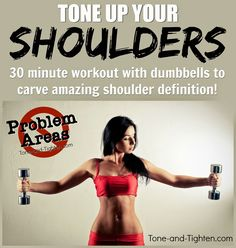 Quick, at-home shoulder workout in 20 minutes with just a pair of dumbbells! Sleek and sexy shoulder definition in your own home with this dumbbell workout. Toning Workouts, Dumbbell Workout, Fun Workouts, At Home Workouts, Workout Fitness, Arm Exercises, Fitness Fun, Workout Tips, Workout Plans