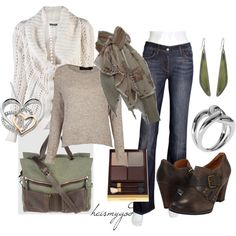 """""""Brown and Sage"""" love the shoes and the scarf"""