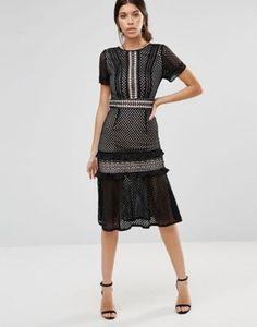 1f74ca8d998ff7 True Decadence Lace Midi Dress with Frill Detail