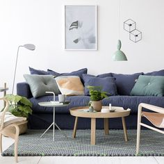 """One sofa and three different ways of styling it. This is the """"New Nordic"""" look!A campaign for Decotiques """"Le Grand Air Sofa"""" that I styled for @rum21se earlier this spring (photo @bodilfotograf) #rum21 #legrandair #scandinavianinterior"""