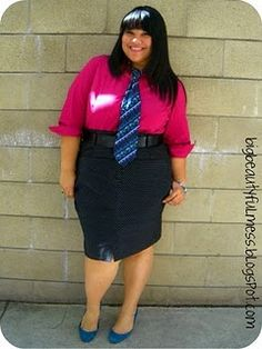 Look to Try: magenta button down, dotted pencil skirt, tie...