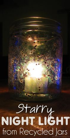 Starry-Night-Light-from-Recycled-Jars