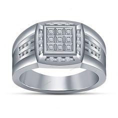 Simulated Diamond Men's Multi-Row Band Ring 14K White Gold Finish 925 Silver 7 8 #beijojewels #MultiRow