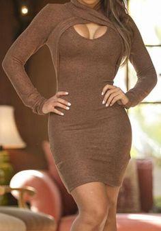 Brown Plain Cut Out High Neck Sexy Wool Mini Dress