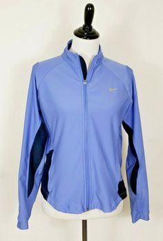7ee2095d6e59 Details about NIKE Dri-Fit Women s Sz L 12 - 14 Blue   Black Full Zip  Athletic Warmup Jacket