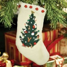 Knitted Christmas Tree Stocking Pattern