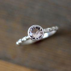 Morganite Ring in Sterling Silver Blush Pink door onegarnetgirl