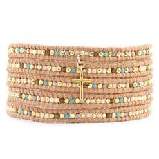 Salmon Mix Cross Wrap Bracelet on Beige Leather