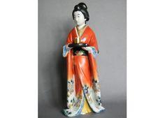 #0141 Japanese Kutani Porcelain Figure of a Geisha - Meiji Period (1868-1911)