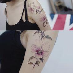 무궁화  #tattooistflower #tattoo#tattoos #flowertattoo #colortattoo #europetattoo #rosetattoo#peony#peonytattoo#cherryblossom #cherryblossomtattoo#타투 #컬러타투 #꽃타투 #장미타투
