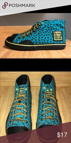 Vision streetwear hi-tops Old School! Women's size 8. Turquoise, black, lime green. Leather laces. Like new condition. Shoes Sneakers