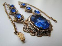 Art Deco Sapphire Blue Glass Enamel Gold Filigree by MercyMadge, $180.00