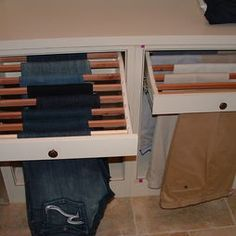 What a great idea for the closet! I do not want to stack jeans or have drawers of them.