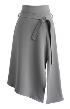 Bravo Split Hem Midi Skirt in Grey - Retro, Indie and Unique Fashion