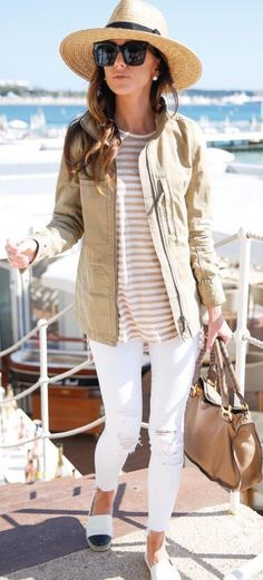casual outfit perfection / hat + stripped top + nude jacket + bag + loafers + rips