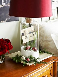 Turn and clear lamp base into a Christmas memory jar...