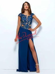 Sapphire Blue Prom Dress | Lace Gown | Jersey Skirt | Mac Duggal 61701R