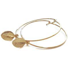 Gold Leaf Hoop Earrings - Kate Middleton Inspired