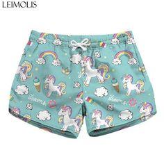 902a9a9cc5 LEIMOLIS 3d Printed pink flamingo unicorn summer sexy ladies casual  bohemian Streetwear elastic high waist shorts women