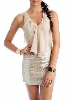 ruffle metallic lace-up dress