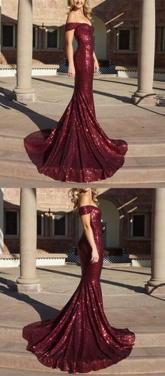 Generous Mermaid Prom Dress, Off-the-Shoulder Burgundy Party Dress, Sequined Long Evening Dress 51410	#RosyProm #fashionpromdress #charmingpromgown #longpartydress #simpleeveningdress #offshoulderpromdress #burgundypromgown
