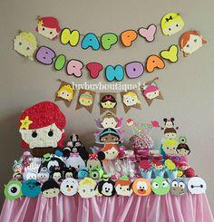 Tsum Tsum Inspired Birthday Banner- Tsum Tsums - Party Banner by on Etsy Tsum Tsum Birthday Cake, Tsum Tsum Party, Disney Tsum Tsum, Disney Birthday, Third Birthday, 1st Birthday Parties, Baby Birthday, Birthday Ideas, Tsumtsum